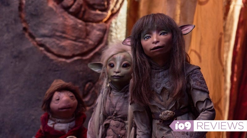 From left: Hup (Victor Yerrid), Deet (Nathalie Emmanuel), and Rian (Taron Egerton) in a scene from The Dark Crystal: Age of Resistance.