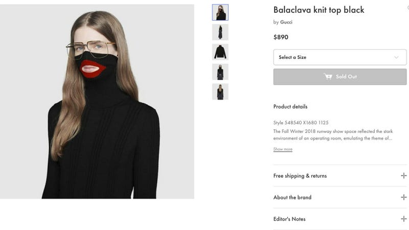 Illustration for article titled Gucci Pulls $890 Sweater Following Blackface Backlash