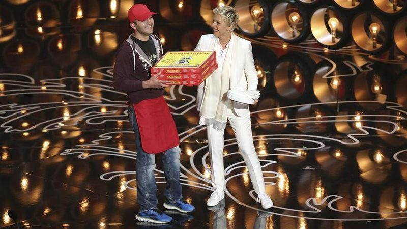 Illustration for article titled Oscars pizza delivery guy shared his charming story on Ellen