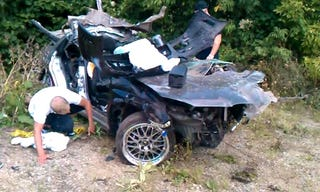 here s what happens when you crash into a telephone pole at 100 mph