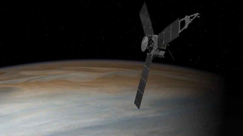 Artist's rendering of JUNO spacecraft orbiting Jupiter. Image: NASA/JPL/Caltech