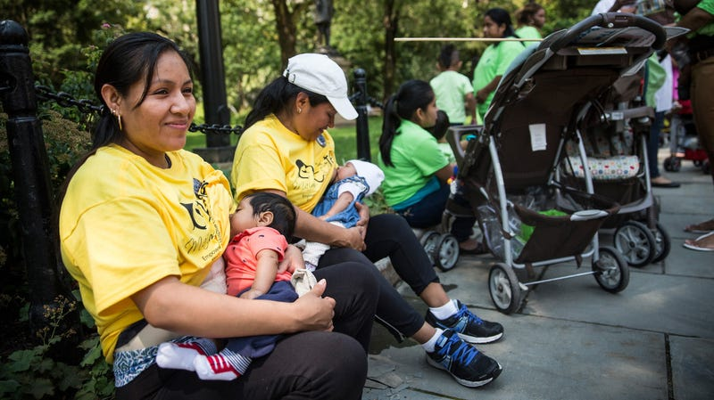 Eligia Spinosa breastfeeds her 2-month-old son, Jose Spinosa, outside City Hall during a rally to support breastfeeding in public on August 8, 2014 in New York City.