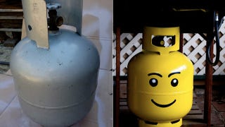Illustration for article titled Turn Your Propane Tank Into a Gigantic Lego Head