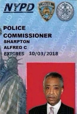 Fake New York Police Department police commissioner ID card in the name of the Rev. Al SharptonTwitter