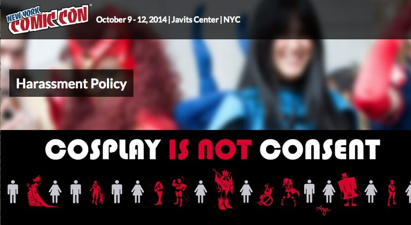 Illustration for article titled New York Comic Con Signs Declare 'Cosplay Is Not Consent'