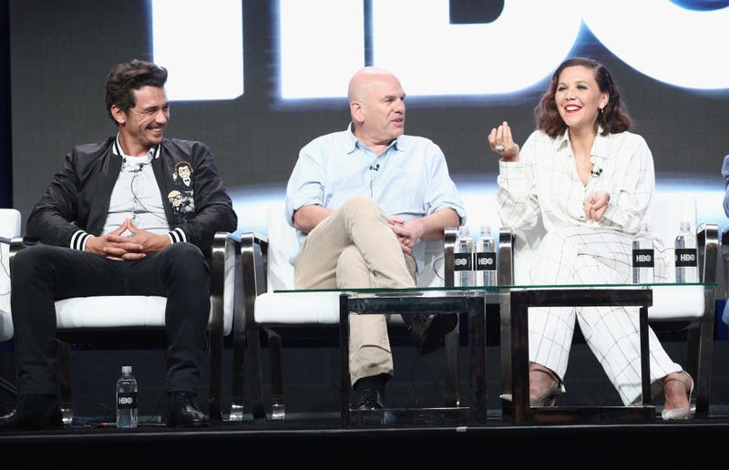 From left to right: James Franco, David Simon, and Maggie Gyllenhaal present The Deuce panel at the 2017 TCA summer press tour (Photo: Frederick M. Brown/Getty Images)