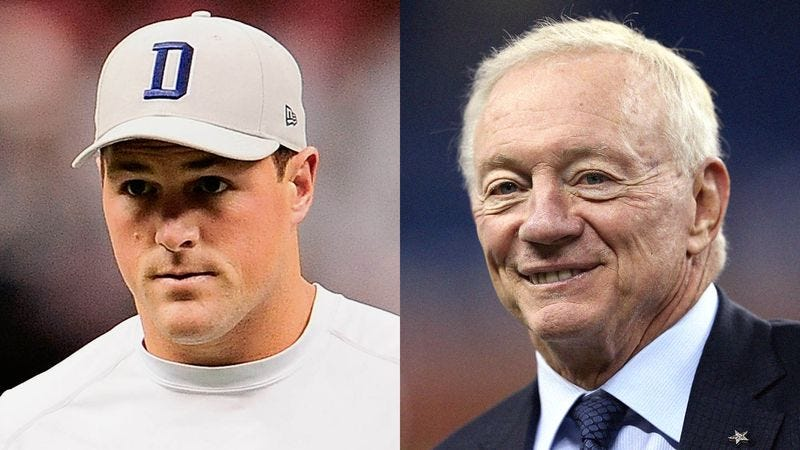 Illustration for article titled Jason Witten Can't Believe He Stuck Rooming With Jerry Jones During Training Camp Again
