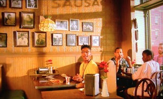 "Buggin' Out questions Sal about the ""wall of fame"" in Sal's Pizzaria during a scene in Spike Lee's Do the Right Thing.Do the Right Thing screenshot"