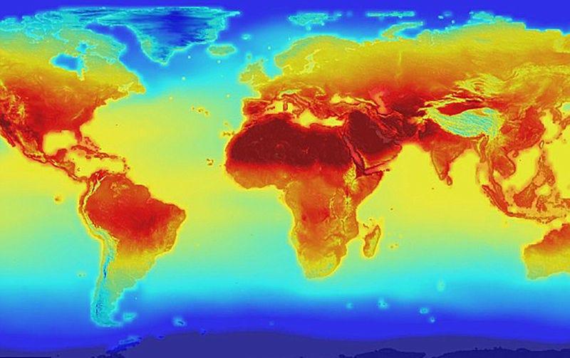 Imagen termográfica vía satélite. Foto: NASA