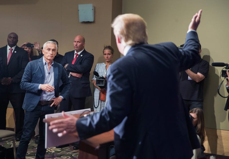 Republican presidential candidate Donald Trump fields a question from Univision and Fusion anchor Jorge Ramos during a press conference held before his campaign event at the Grand River Center on Aug. 25, 2015, in Dubuque, Iowa.Scott Olson/Getty Images