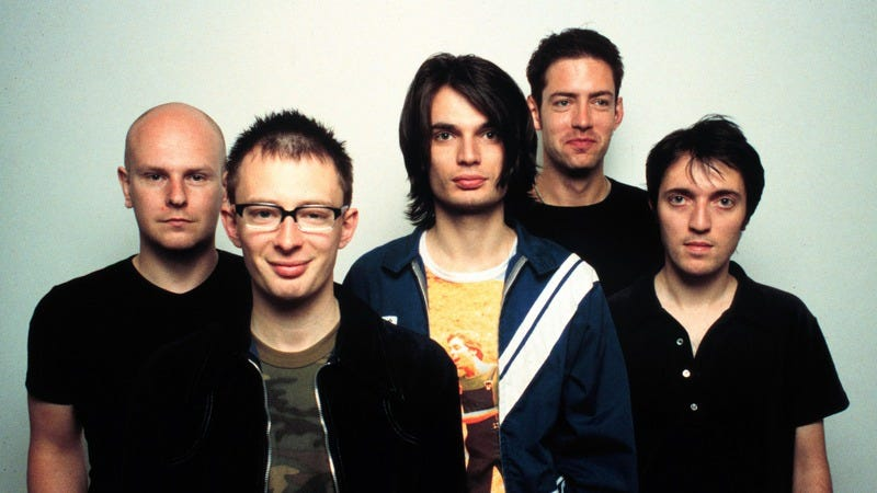 Radiohead, circa the release of the first 100 OK Computer think-pieces (Photo: Jim Steinfeldt/Getty Images)