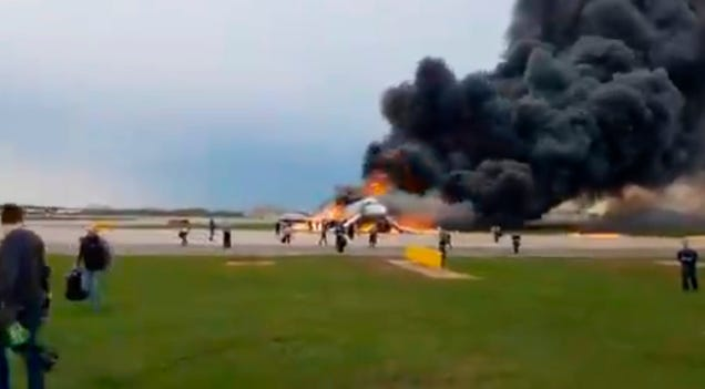 44ab4bf14 Horrifying visuals trickled out of Moscow s Sheremetyevo Airport as an  Aeroflot Superjet-100 burst into a huge ball of flames 27 minutes into a  flight to ...