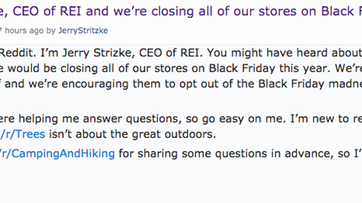 REI CEO Goes On Reddit, Employees Say How Much It Sucks To