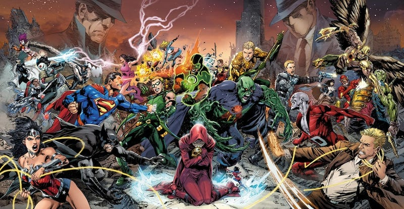 """Illustration for article titled It's Justice League vs. Justice League vs. Justice League in DC's summer event """"Trinity War"""""""