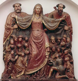 Spanish, Our Lady of Mercy, mid-16th century. Polychromed wood.Museu Frederic Marès, Barcelona, Spain