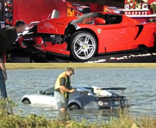 exclusive bugatti lake crash driver owns infamous eddie griffin crashed ferrari enzo. Black Bedroom Furniture Sets. Home Design Ideas