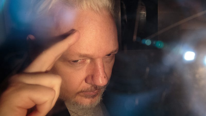 WikiLeaks founder Julian Assange in London on May 1, 2019 after being sentenced for skipping bail in 2012