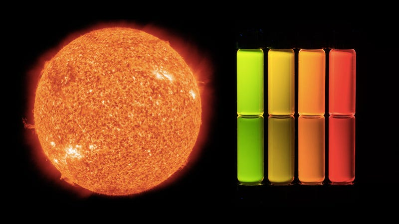 The sun (left) and quantum dots (right).
