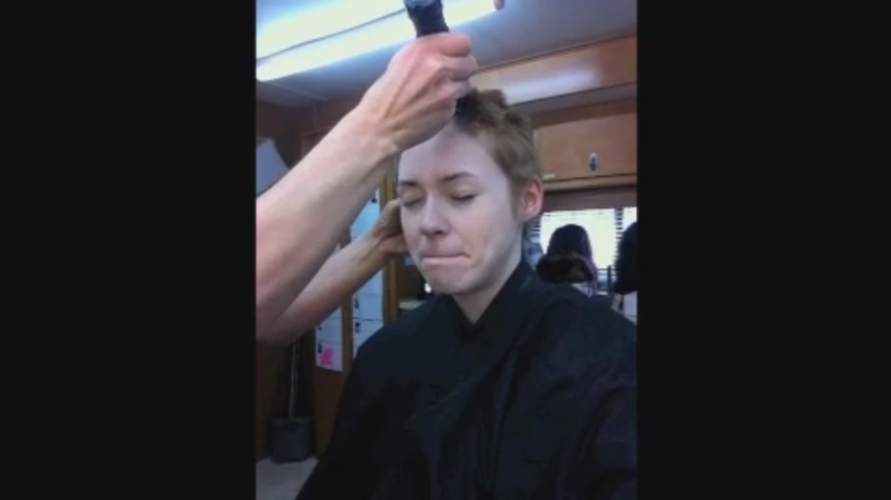 Illustration for article titled Video Of Karen Gillan Getting Her Head Shaved To Play Nebula
