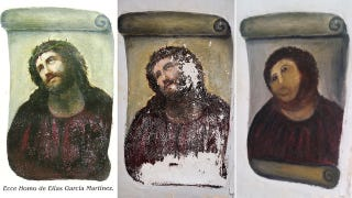 Illustration for article titled Elderly Woman Who Botched Fresco Restoration Is Quickly Becoming an Internet Hero