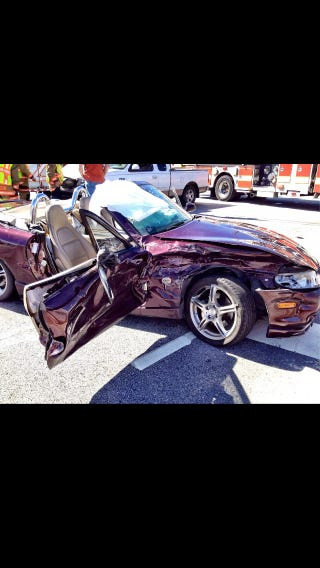 Illustration for article titled My buddy wrecked his Miata. Glad he's ok.