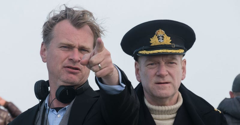 Christopher Nolan and Kenneth Branagh on the set of Dunkirk. Image: Warner Bros.
