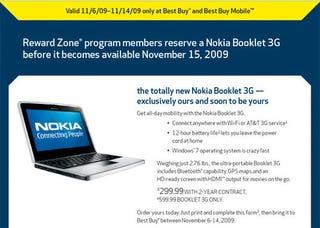 Illustration for article titled Nokia Booklet 3G Landing November 15 at Best Buy
