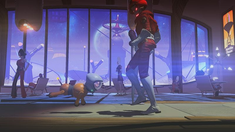 Popping your head onto a robot dog is one of greatest chuckles Headlander's brief adventure provides. (Screenshot: Adult Swim Games)