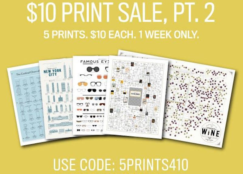 Select Pop Chart Lab Prints, $10 with code 5PRINTS410