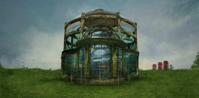 Illustration for article titled Whose Fanciful Whims Inspired the Construction of This Unusual Aquarium?