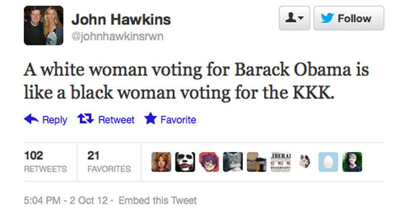 Illustration for article titled Official Romney Blogger Says 'A White Woman Voting for Obama Is Like a Black Woman Voting For the KKK'