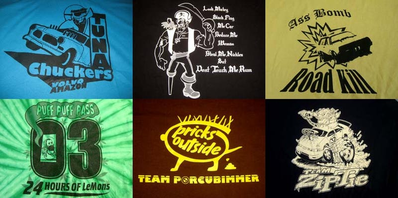Illustration for article titled Frogmasters And Türbö Schnitzels: The Team Shirts Of The 24 Hours Of LeMons