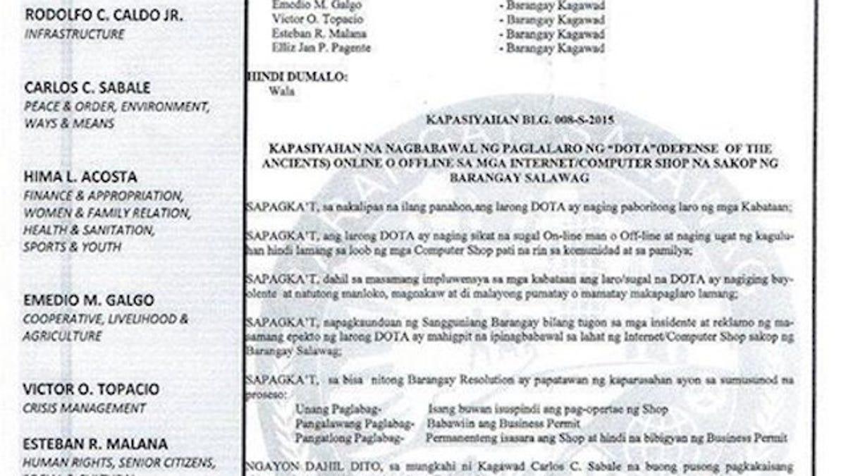 Filipino Village Bans Dota After Multiple Murders