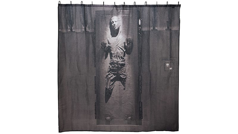 Illustration for article titled Han Solo Frozen In Carbonite Shower Curtain: Don't Worry, He Can't See