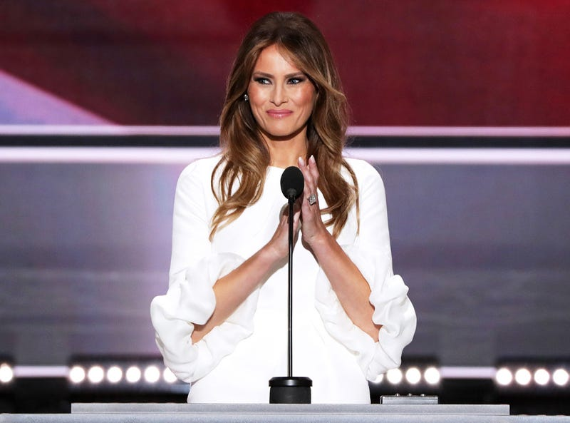 Melania Trump speaks after being introduced by her husband, Donald Trump, at the 2016 Republican National Convention in Cleveland on July 18, 2016.Alex Wong/Getty Images