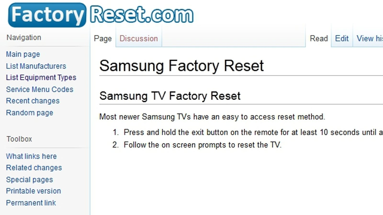 FactoryReset com Details Reset Instructions for Tons of Different
