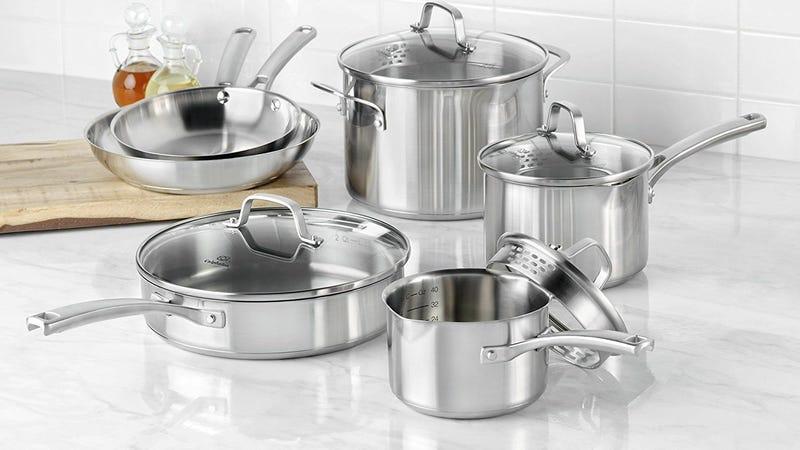 Calphalon Stainless Steel 10-piece Cookware Set, $98