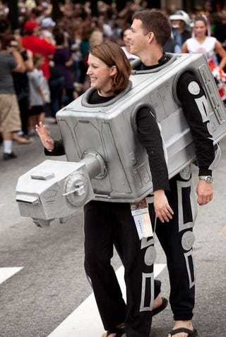 Illustration for article titled Nothing Says Let's Spend Our Life Together Like an AT-AT Costume for Couples