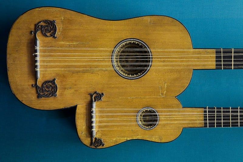 5 double course (2x ten-string) double guitar; 1690