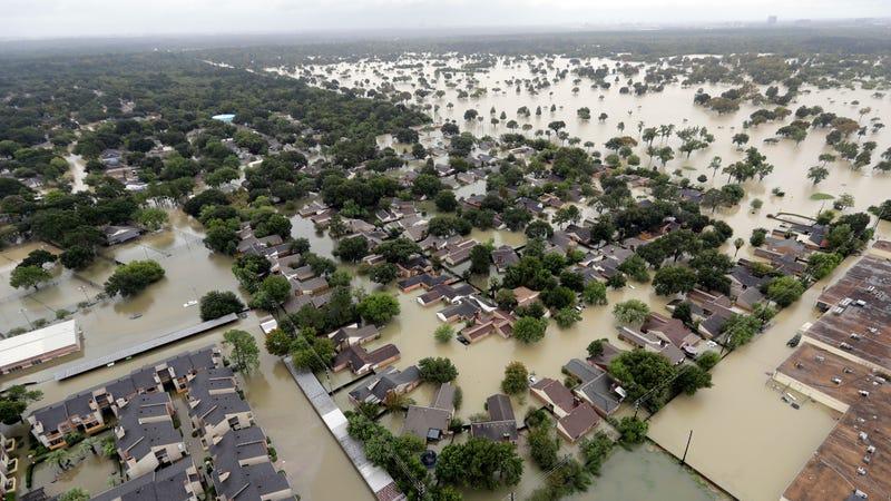 A Houston neighborhood inundated by Hurricane Harvey in August 2017. Photo: AP