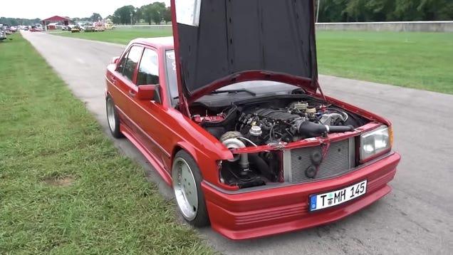Here's a Good Idea: Swap a 500 Horsepower Turbo V8 Into a Mercedes