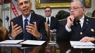 President Barack Obama and Philadelphia Police Commissioner Charles Ramsey during a meeting at the White House March 2, 2015, to receive the president's policing task force's interim report.Alex Wong/Getty Images