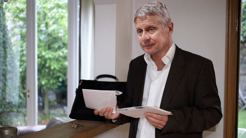 Gary Johnson opening his mail.