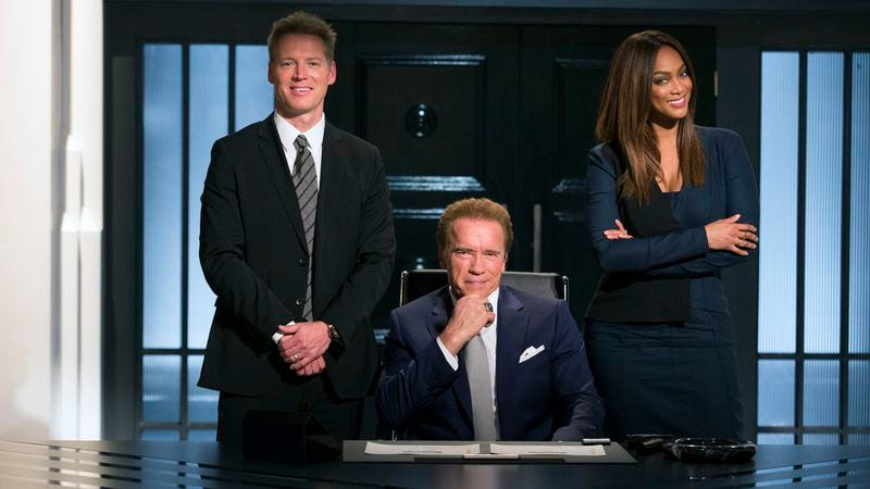 Patrick Knapp Schwarzenegger, Arnold Schwarzenegger, and Tyra Banks (Photo by: Luis Trinh/NBC)