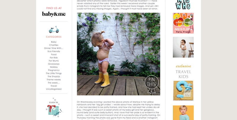 Illustration for article titled ​Mommy Blogger's Instagram Deleted for Daughter's 'Nude' Photo