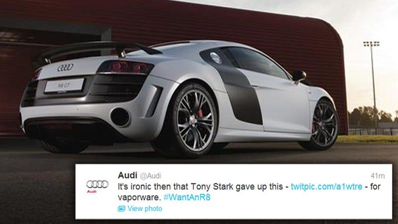 Illustration for article titled Audi Calls Acura's New Hybrid NSX Sports Car 'Vaporware' On Twitter
