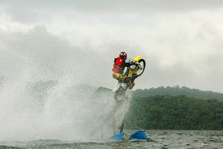 Illustration for article titled Travis Pastrana Jumps Motorycle From Water