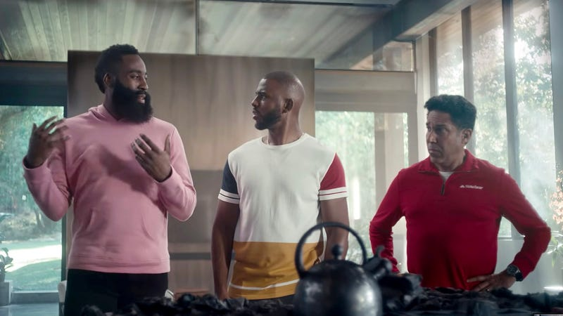 Illustration for article titled James Harden, Chris Paul Deny Rumors Of Discord, Say They Are Fully Committed To Team At State Farm