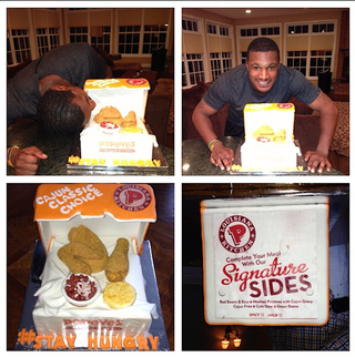 Illustration for article titled Adam Jones Got A Popeye's Chicken-Themed Cake For His Birthday