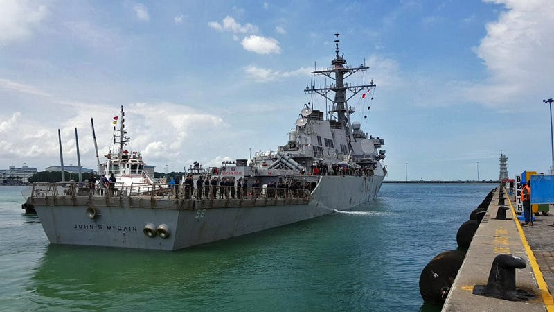 USS John S. McCain (DDG 56) arrives pier side at Changi Naval Base, Republic of Singapore.